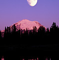Tipsoo Lake And Full Moon At Mount Ranier National Park In Washington Poster by Steve Satushek