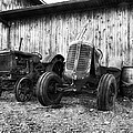 Tired Tractors BW Poster by Peter Chilelli