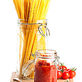 Tomatoes Sauce and  Spaghetti Pasta  Poster by Amanda And Christopher Elwell