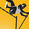 Track and Field Athlete Pole Vault High Jump Retro Poster by Aloysius Patrimonio