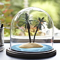 Tropical Island Under Glass Dome Poster by Jeffrey Coolidge