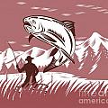 Trout jumping fisherman Poster by Aloysius Patrimonio