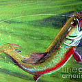 Trout On - Pastel Painting Print by Merton Allen