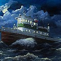 Tug boat on rough water Poster by Virginia Sonntag