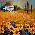 Tuscany Sunflowers Print by Marion Rose