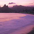 Twilight View Of Ipanema Beach And Two Print by Michael Melford