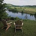 Two Adirondack Chairs On A Scenic Poster by Randy Olson