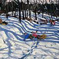 Two boys falling off a sledge Print by Andrew Macara