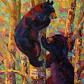 Two High - Black Bear Cubs Poster by Marion Rose