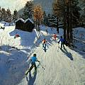 Two mountain huts Print by Andrew Macara