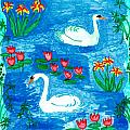 Two Swans Print by Sushila Burgess