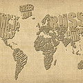 Typographic Text Map of the World Poster by Michael Tompsett