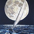 Under Full Sail..Under Full Moon Poster by Jack Skinner