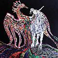 Unicorn and Phoenix Merge Paths Poster by Carol Law Conklin