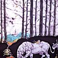 Unicorn Rests in the Forest with Fox and Bird Poster by Carol Law Conklin
