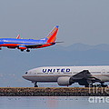 United Airlines And Southwest Airlines Jet Airplane At San Francisco International Airport SFO.12087 Print by Wingsdomain Art and Photography