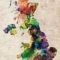 United Kingdom Watercolor Map Poster by Michael Tompsett