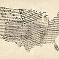 United States Old Sheet Music Map Poster by Michael Tompsett