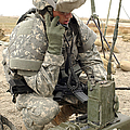 U.s. Army Soldier Performs A Radio Print by Stocktrek Images