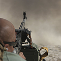 U.s. Contractor Firing The Pkm 7.62 Poster by Terry Moore