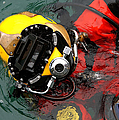 U.s. Navy Diver Is Lowered Poster by Stocktrek Images