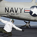 U.s. Navy Sailors Give The Thumbs Poster by Stocktrek Images