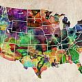 USA Watercolor Map Poster by Michael Tompsett