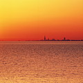 Usa,chicago,lake Michigan,orange Sunset,city Skyline In Distance Print by Frank Cezus