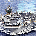 Uss Abraham Lincoln Transits Print by Stocktrek Images