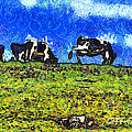 Van Gogh Goes Cow Tipping 7D3290 Poster by Wingsdomain Art and Photography