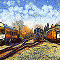 Van Gogh.s Train Station 7D11513 Poster by Wingsdomain Art and Photography