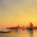 Venice from the Lagoon at Sunset Poster by Ivan Konstantinovich Aivazovsky