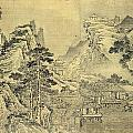 View from the Keyin Pavilion on Paradise - Baojie Mountain Print by Wang Wen
