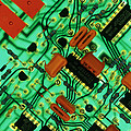 View Of A Circuit Board From An Alarm System Print by Chris Knapton