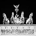 viktoria with quadriga on top of the Brandenburg gate at night Berlin Germany Print by Joe Fox