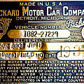 Vintage 1937 Packard VIN Plate Poster by David Patterson
