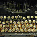Vintage Antique Typewriter - Text Me Poster by Kathy Fornal