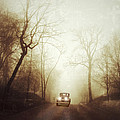 Vintage Car on Foggy Rural Road Poster by Jill Battaglia
