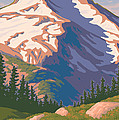 Vintage Mount Jefferson Travel Poster Print by Mitch Frey