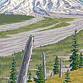 Vintage Mount St. Helens Travel Poster Print by Mitch Frey