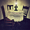 Vintage Table and Chairs by Oil Lamp Light Print by Jill Battaglia