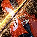 Violin with sparks flying from the bow Print by Garry Gay