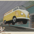 vw van high speed delivery Poster by Mitch Frey
