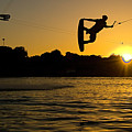 Wakeboarder At Sunset Print by Andreas Mohaupt
