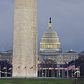 Washington Monument and United States Capitol Buildings - Washington DC Print by Brendan Reals