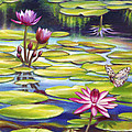 Water Lilies at McKee Gardens II - Butterfly and Frog Print by Nancy Tilles