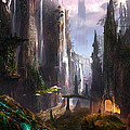 Waterfall Celtic Ruins Print by Alex Ruiz