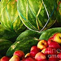 Watermellons and Apples Print by Elaine Manley