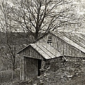 Weathered Hillside Barn Print by John Stephens