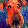 Whimsical Airedale Dog painting Print by Svetlana Novikova